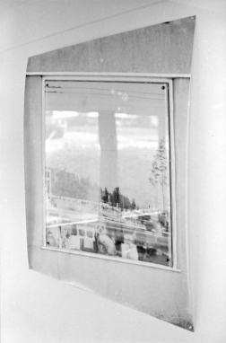 Bill Jones, Landscape # 3, 1971 black and white photograph and shaped glass overlay. 48 x 48""