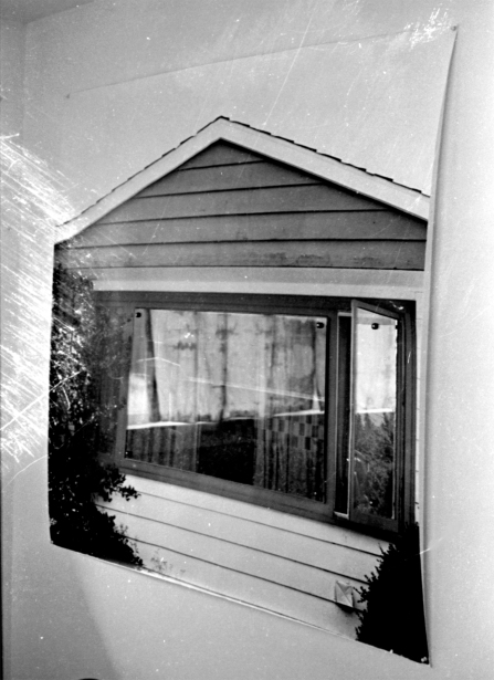 Bill Jones, Landscape # 2, 1971 black and white photograph and shaped glass overlay. 48 x 48""