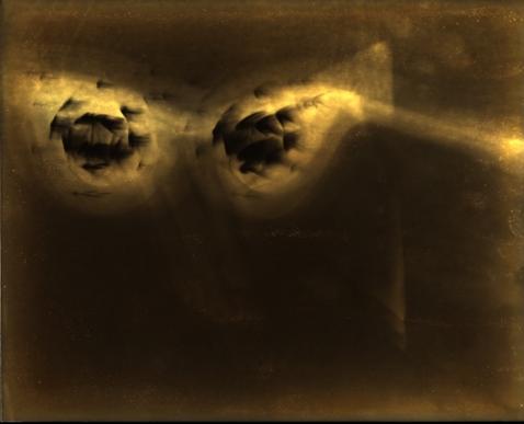 Bill Jones, Second Sight 6, 1995, silver print on yellow paper, 20 x 25 cm, 8 x 10 inches.