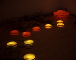 Bill Jones and Ben Neill, Pulse, networked light and sound sculpture, installation view Sandra Gering Gallery