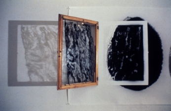 Bill Jones, The Uses of Would, 1988, Silver print, lantern, window, 122 x 549 cm, 48 x 216 in, detail, YYZ Gallery, Toronto.