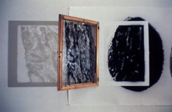 Bill Jones, The Uses of Would, 1988, Silver print, lantern, window, 122 x 549 cm, 48 x 216 in, detail, YYZ Gallery, Toronto.
