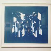 After Gyorgy Kepes, 2017, cyanotype 30 x 34 inches.