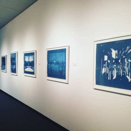 Installation view, Waking Dream, 2018, cyanotypes.