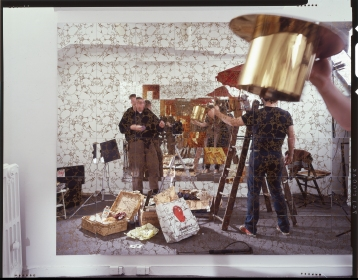 Bill Jones and Ken Schles photographing Mirrored Room, 1986, Art City, NY