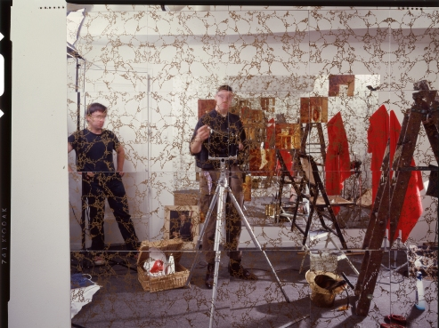 Bill Jones and Ken Schles photographing Mirrored Room, 1985, Art City, NY